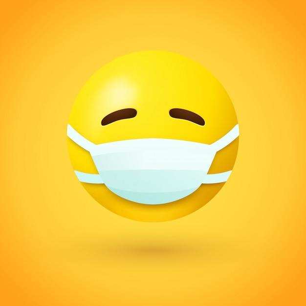 Emoji con maschera per la bocca Vettore Premium