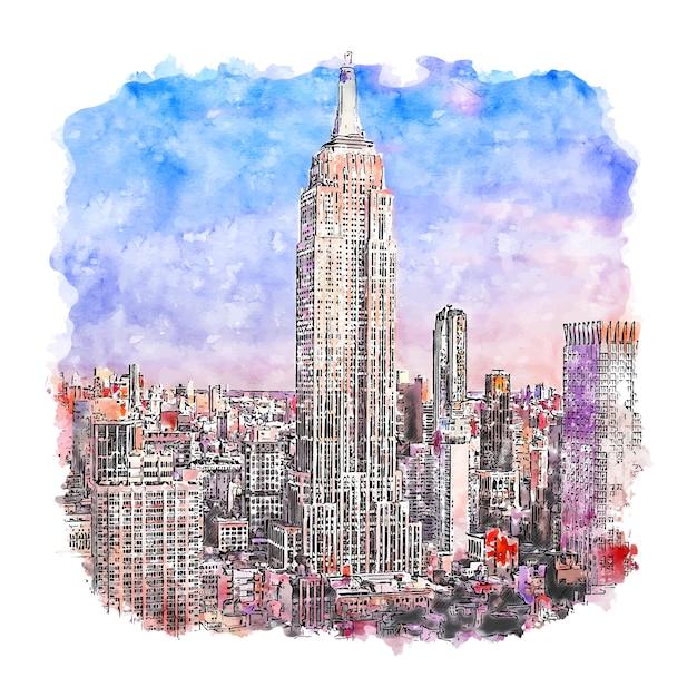 Illustrazione disegnata a mano di schizzo dell'acquerello di new york dell'empire state building Vettore Premium