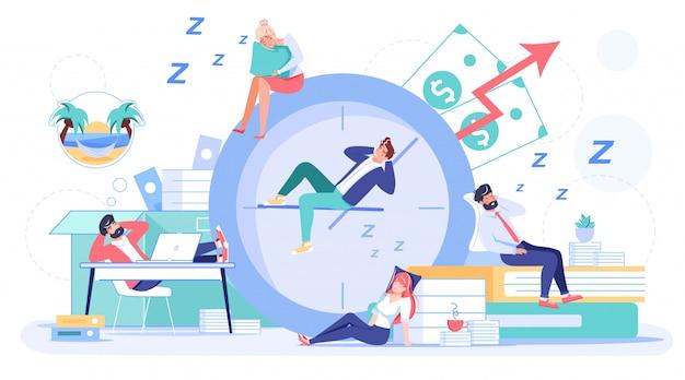 Dipendente che dorme procrastinando sul posto di lavoro Vettore Premium