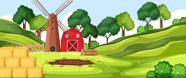 Scenario di fattoria natura sfondo vuoto Vettore Premium