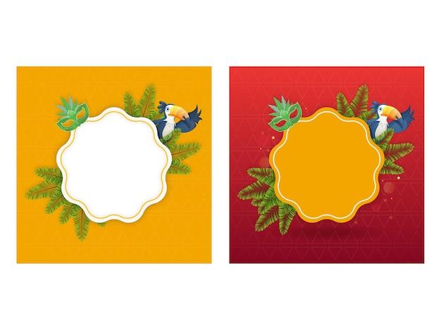 Cornice vuota con maschera di carnevale, foglie di abete e uccello tucano Vettore Premium
