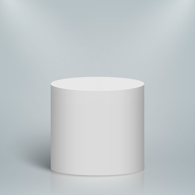 Podio o piattaforma rotondo illuminato vuoto. cilindro bianco bianco Vettore Premium