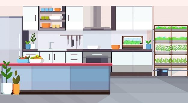 Svuoti nessun popolo casa stanza cucina moderna design piante intelligenti sistema crescente nell'orizzontale piano concetto interno Vettore Premium