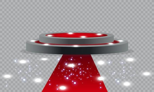 Piedistallo vuoto per la cerimonia di premiazione. piattaforma illuminata da faretti. illustrazione. Vettore Premium