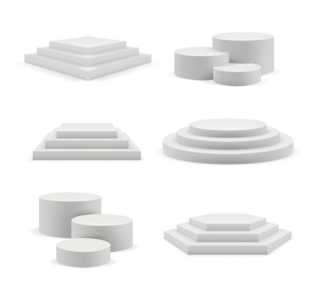 Podio vuoto. le fasi espositive pubblicizzano un podio bianco realistico Vettore Premium