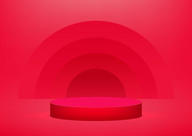 Podio vuoto su sfondo rosso Vettore Premium