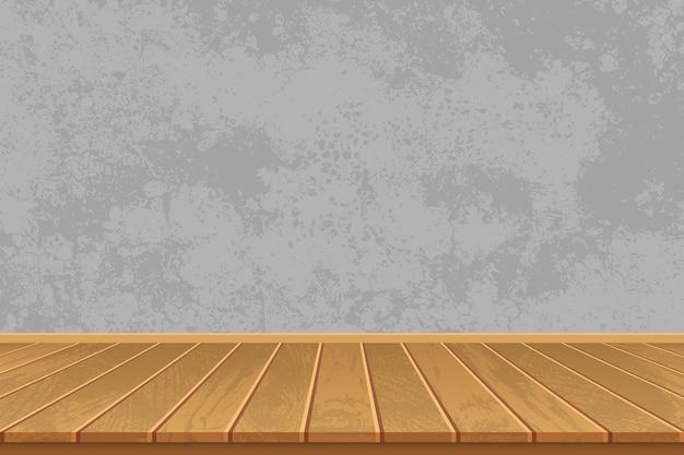 Stanza vuota con pavimento in legno e muro di cemento Vettore Premium