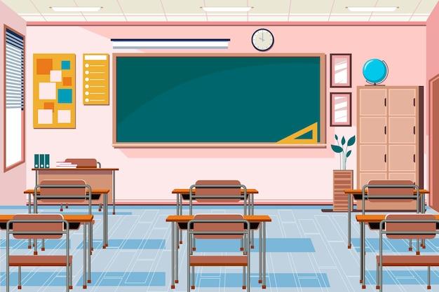Sfondo di classe scuola vuota per videoconferenze Vettore Premium