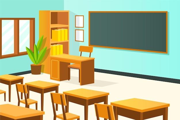 Classe di scuola vuota - sfondo per videoconferenze Vettore Premium