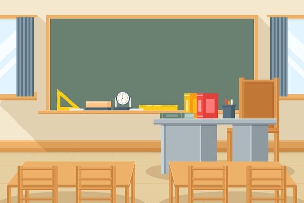 Sfondo di classe scolastica vuota per videoconferenza Vettore Premium