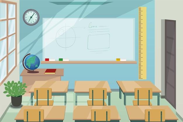 Sfondo di classe scolastica vuota per videoconferenze Vettore Premium