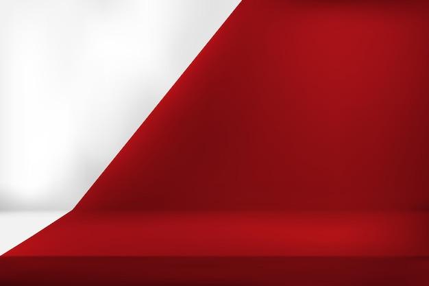 Display del prodotto a colori rosso vivo vuoto. Vettore Premium