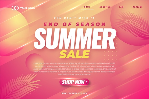 Modello di pagina di destinazione della vendita estiva di fine stagione Vettore Premium