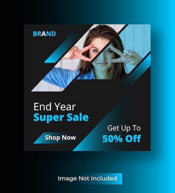 Post sui social media di super vendita di fine anno Vettore Premium
