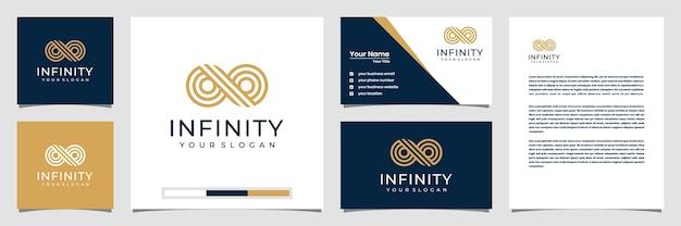 Ciclo infinito infinito con simbolo di stile arte linea, speciale concettuale. biglietto da visita logo e carta intestata Vettore Premium