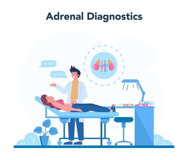 Concetto di endocrinologo. esame delle ghiandole surrenali. il medico esamina l'ormone e il glucosio. idea di salute e cure mediche. Vettore Premium