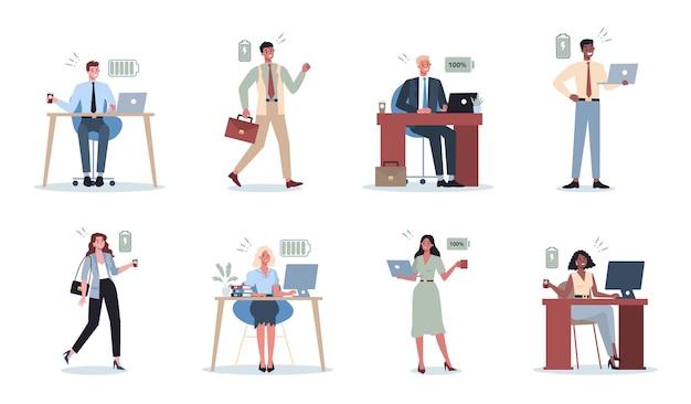Insieme energico dell'uomo e della donna di affari. pieno di uomini d'affari energetici. produttività ed entusiasmo professionali. Vettore Premium