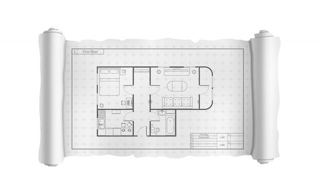 Rotolo bianco di ingegneria con la pianta della casa dettagliata, modello di costruzione su bianco Vettore Premium