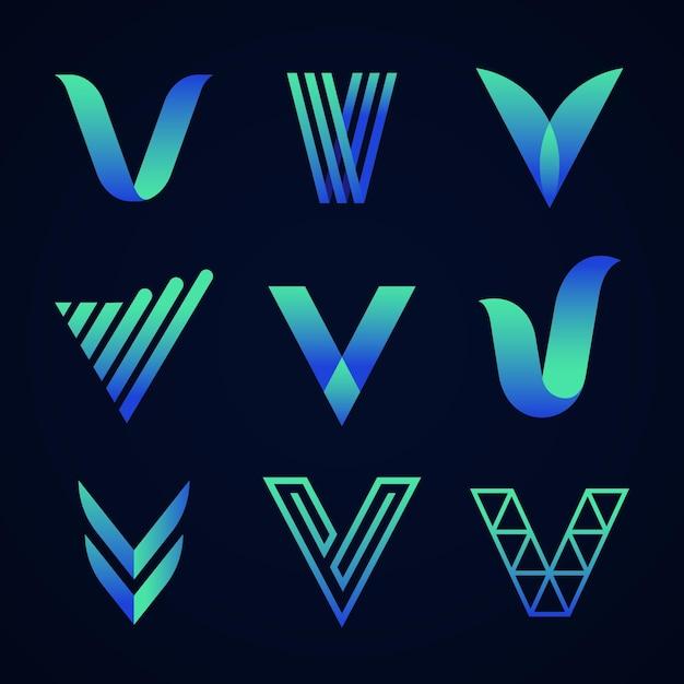 Collezione inglese lettera v logo Vettore Premium