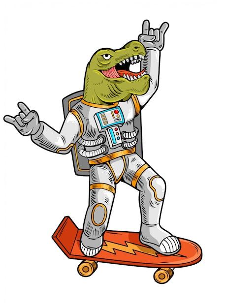 L'incisione disegna il simpatico tizio astronauta t rex tirannosauro cavalca su skateboard in tuta spaziale. Vettore Premium