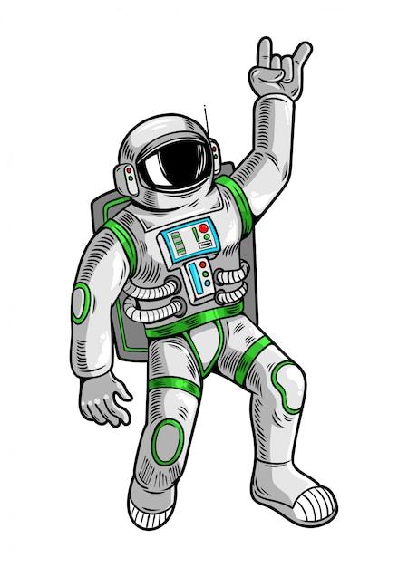 Incisione disegnata con un simpatico tizio astronauta astronauta in tuta spaziale. Vettore Premium