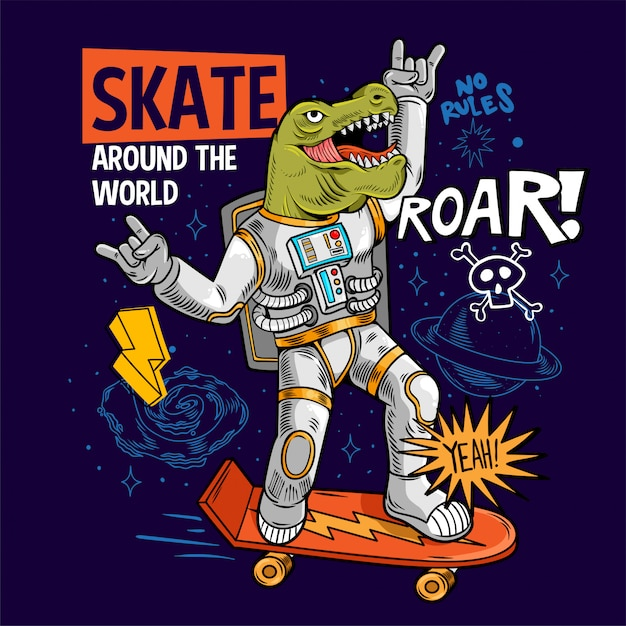 Incisione divertente tizio cool in tuta spaziale skater dino green t rex ride su spazio skate board tra stelle pianeti galassie. pop art di fumetti del fumetto per l'abbigliamento della maglietta design di stampa Vettore Premium