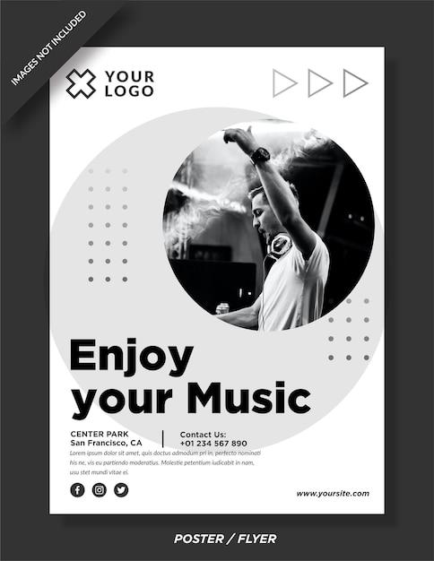 Goditi il tuo modello di poster notturno per eventi musicali Vettore Premium