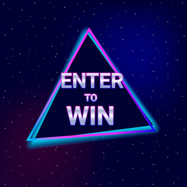 Inserisci per vincere il testo. stile neon. Vettore Premium