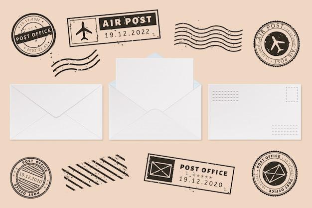 Modello di busta con etichetta timbro. spedisca i francobolli della lettera e della posta, la busta aperta della posta con lo strato della lettera della carta in bianco, insieme dell'illustrazione dei modelli di affari dell'ufficio postale. francobollo. permettere impronte Vettore Premium