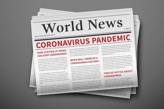 Ultime notizie epidemiche. mockup del giornale coronavirus. pagina cartacea della newsletter sull'epidemia di coronavirus mockup di un quotidiano. notizie relative al covid-19 Vettore Premium