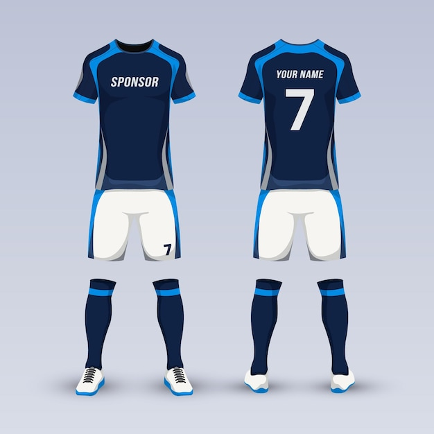 Attrezzatura per divisa sportiva da calcio Vettore Premium