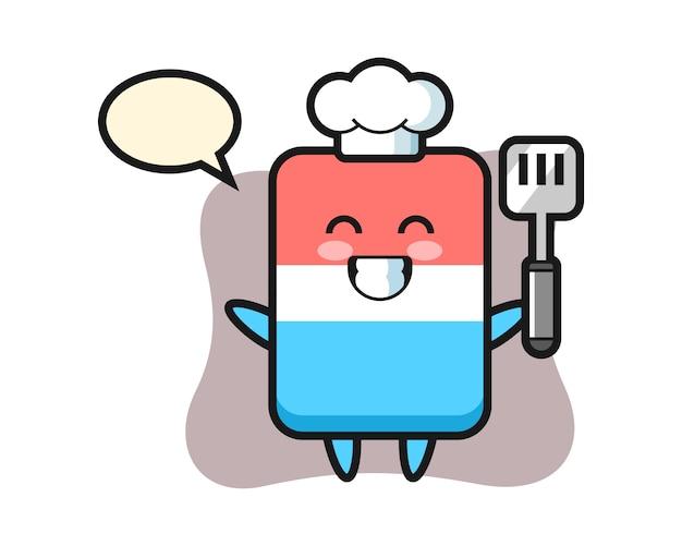 Il fumetto del carattere di gomma come chef sta cucinando, stile carino, adesivo, elemento del logo Vettore Premium