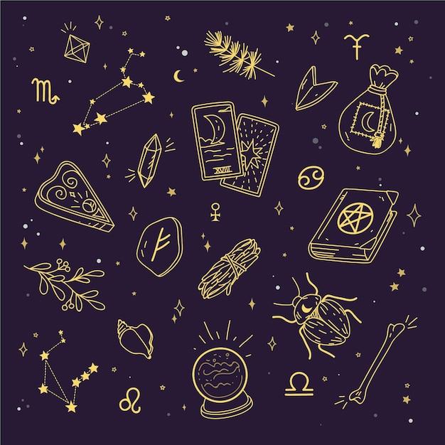 Elementi mistici esoterici Vettore Premium