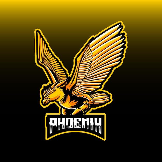 Esport logo whit phoenix character icon Vettore Premium