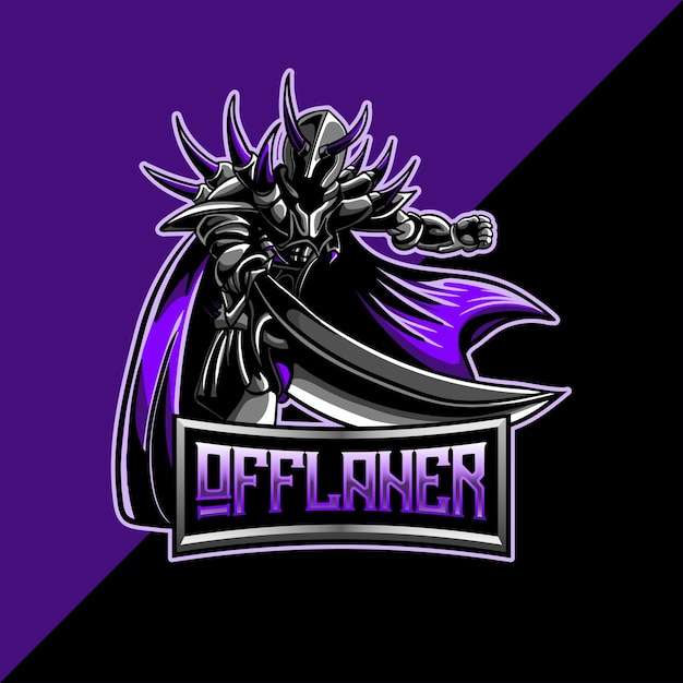 Logo esport con mascotte guerriero oscuro offlaner Vettore Premium