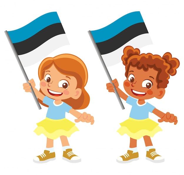 Bandiera dell'estonia in mano insieme Vettore Premium