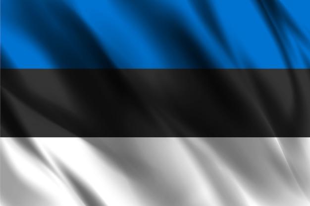 Bandiera dell'estonia che ondeggia fondo astratto Vettore Premium
