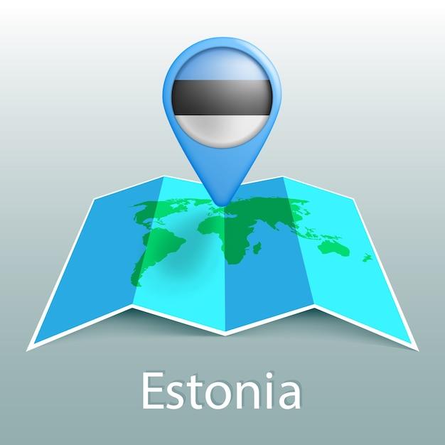 Estonia bandiera mappa del mondo nel pin con il nome del paese su sfondo grigio Vettore Premium