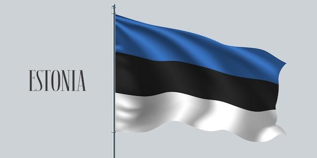 Estonia sventolando bandiera sul pennone. Vettore Premium