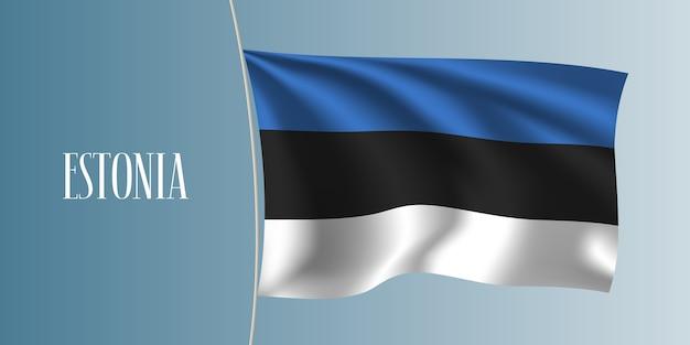 Estonia sventolando bandiera. elemento di design iconico come bandiera nazionale estone Vettore Premium