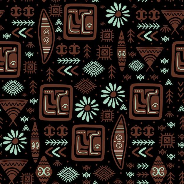 Modello etnico con disegnati a mano tribale disegno azteco simbolo Vettore Premium