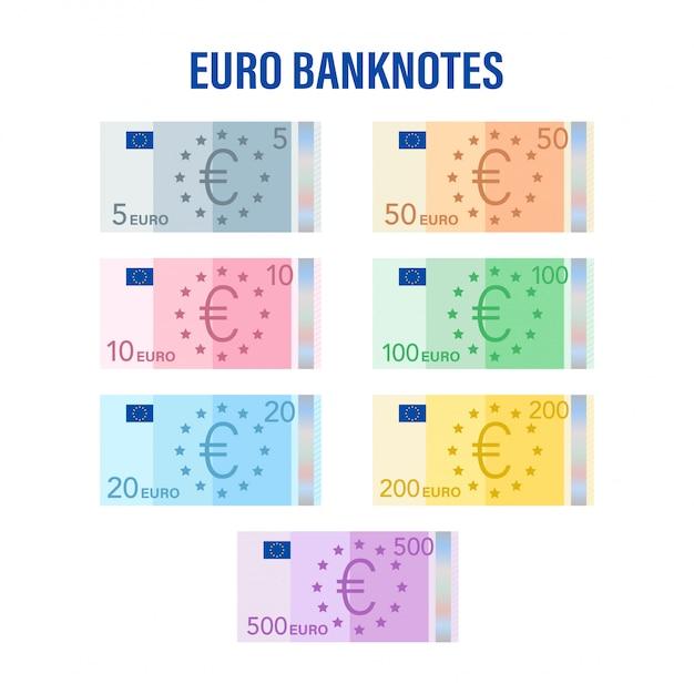 Banconote in euro. euro piatto per carta moneta. concetto di affari. illustrazione di riserva. Vettore Premium