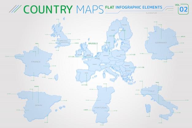 Mappe europa, regno unito, francia, spagna, portogallo, italia e germania Vettore Premium