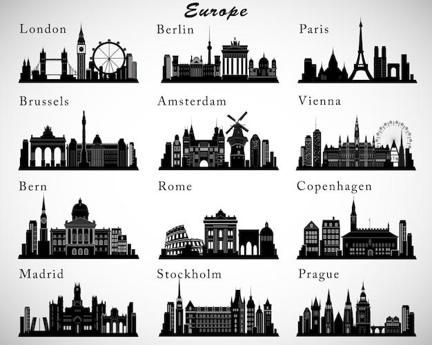 Set di skyline di città europee. sagome Vettore Premium