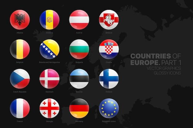 Icone rotonde lucide delle bandiere dei paesi europei messe isolate sul nero Vettore Premium