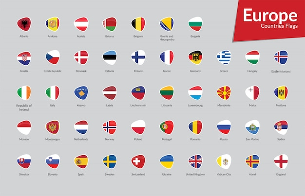 Raccolta di icone di bandiere di paesi europei Vettore Premium