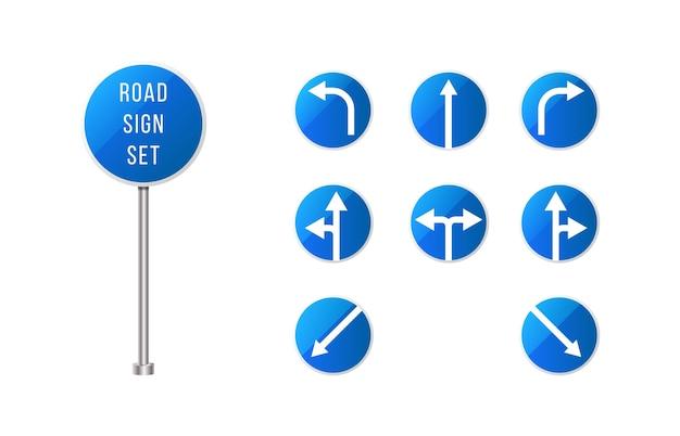 Segnaletica stradale europea impostata. segnale stradale arrotondato blu impostato con le frecce. set di segni di puntatore. Vettore Premium