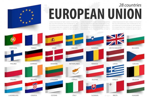 Bandiera dell'unione europea e membro. design con nota adesiva. mappa dell'europa Vettore Premium