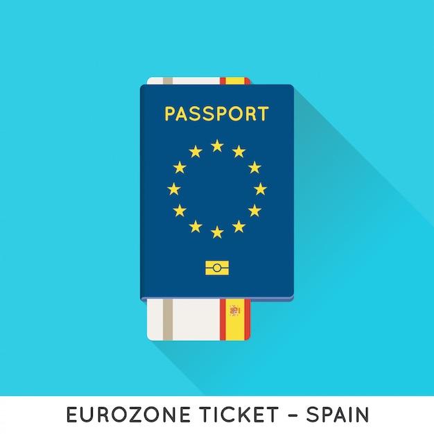 Passaporto eurozona europa con illustrazione dei biglietti. biglietti aerei con bandiera nazionale dell'ue. Vettore Premium