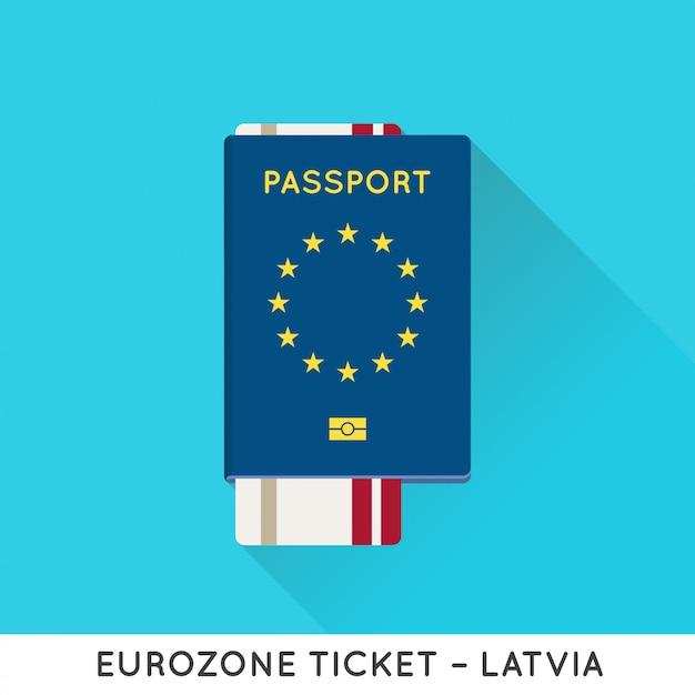 Passaporto eurozona europa con biglietti Vettore Premium